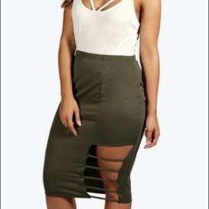 BooHoo split midi skirt || Never worn